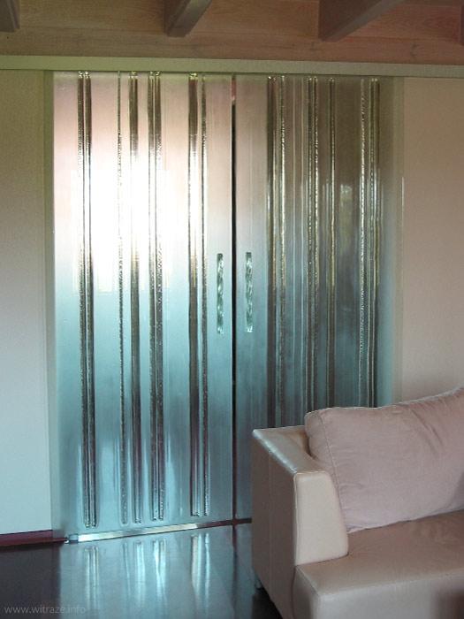 Ogromny Drzwi szklane przesuwne dwuskrzydłowe ze szkła arystycznego TW33