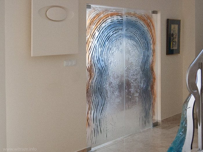 Bardzo dobra Dwuskrzydłowe drzwi szklane, szkło artystyczne niebiesko - złote XB24