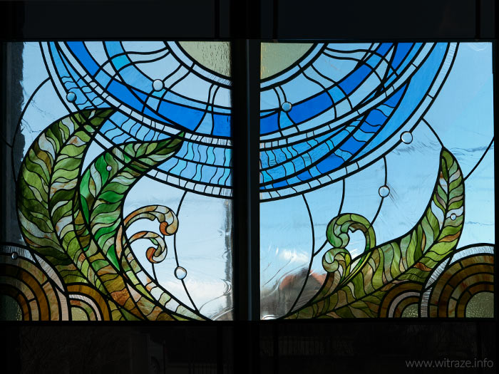 stained glass with fern motif leaded glass window