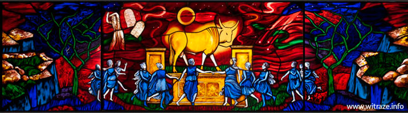 Golden-Calf-stained-glass-panel