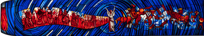 Stained glass - Parting Red Sea