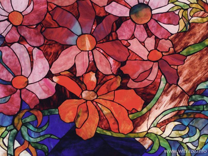 W Ultra Witraże kwiatowe w stylu Tiffany, w szkole w Japonii ZZ93