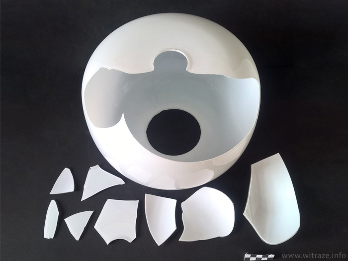 Apolinary Gałecki - broken milk glass lampshade