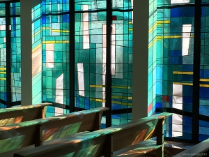Abstract windows in the chapel in Brussels