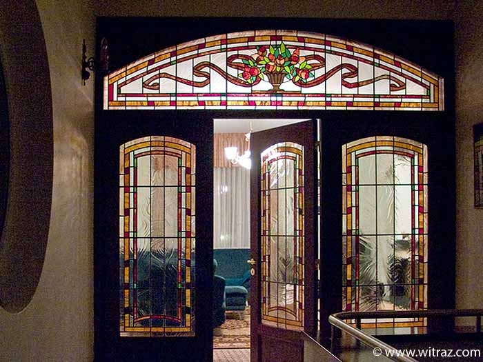 Double door Art Nouveau style stained glass inlay with the bevelled glass elements