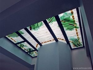 Art glass skylight over the fireplace