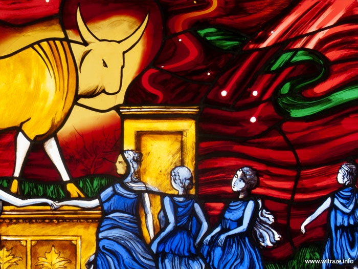"The Golden Calf - stained glass panel in the ""Communion Bar"""