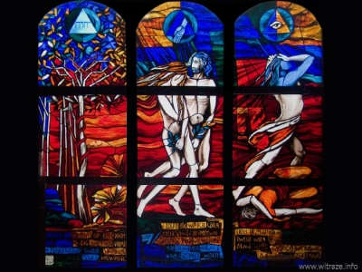Stained glass windows in the Divine Mercy church in Otwock-Lugi