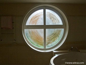 Art glass in the bathroom window