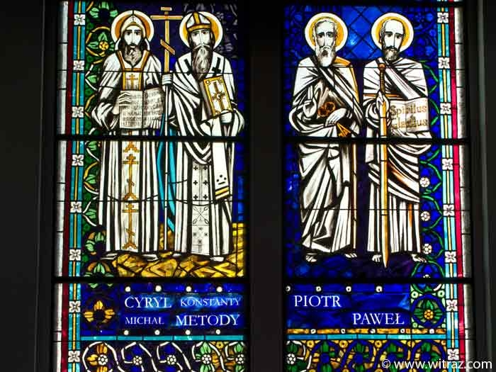 St Peter and Paul, Cyril and Methodius - stained glass windows in Pila Church