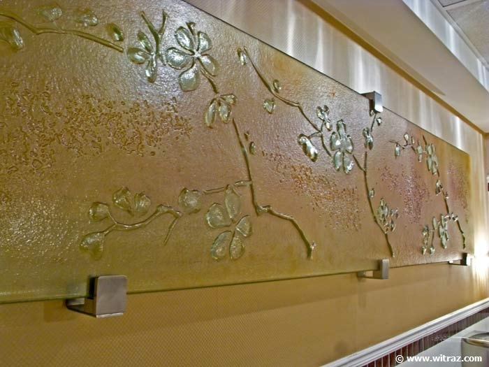 Cherry blossom decorative glass panel