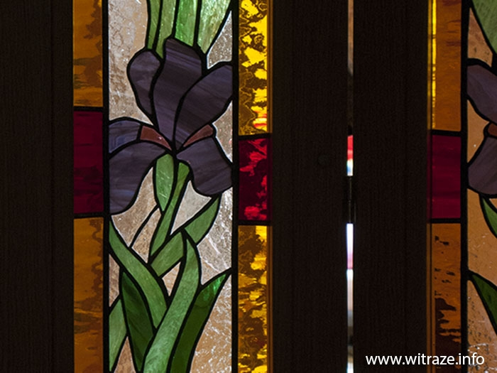 Stained Glass Double Doors with Iris