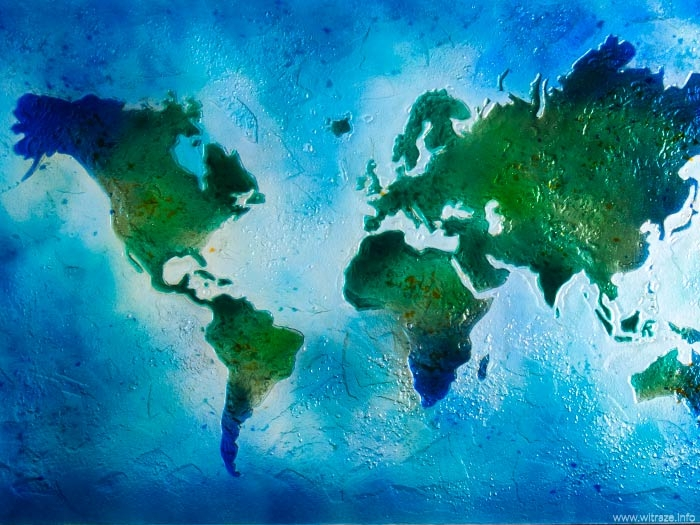Map of the world made of art fused glass