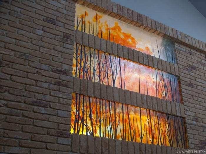 Art glass panel with autum trees
