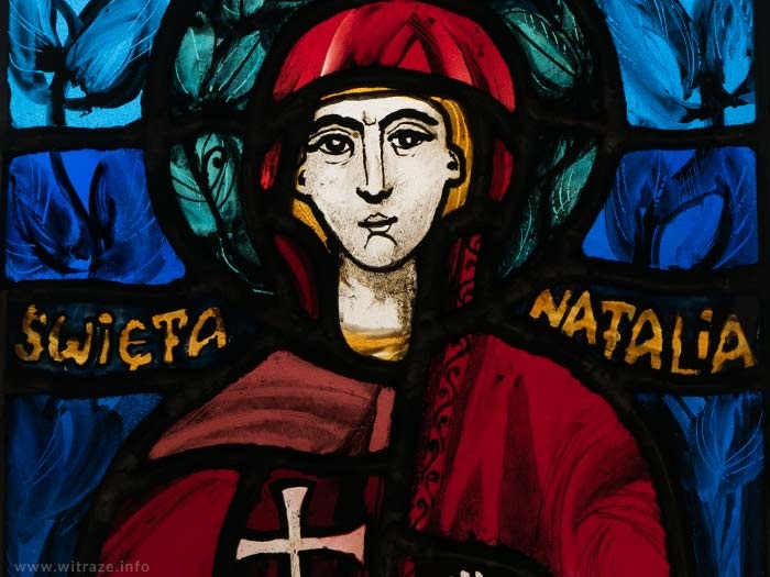 Small Stained Glass with Saint Nathalie