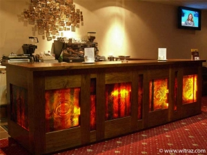 Intense red art glass in a Dublin casino