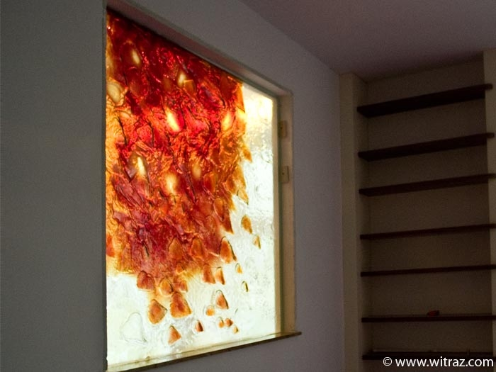 Red autumnal leaves - art glass window
