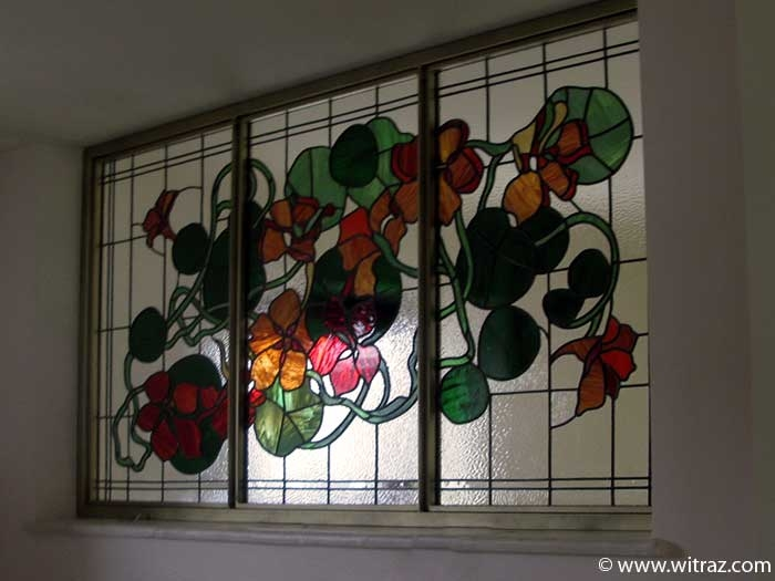 "Floral stained glass ""Nasturtiums"""