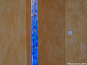 Art glass - narrow blue panels in the apartment