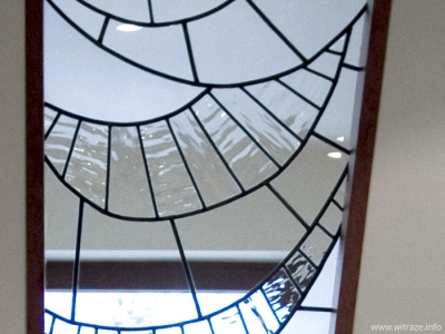Decorative stained glass window with sandblasting