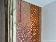 Coloured art glass partition with the antique motifs