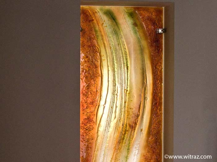 Gold Wave Art Glass Panel
