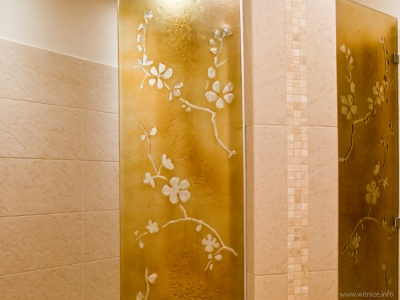 Shower Cabin with Cherry Blossom Pattern