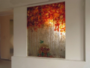 Art glass panel with the autumn leafs motif
