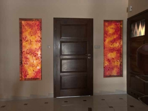 Art glass panels between the entrance and the hall - autumn motifs