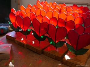 Stained glass hearts - corporate gift