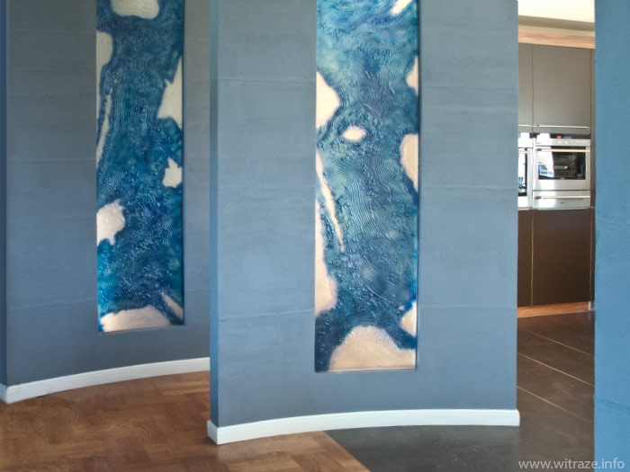 Blue abstract glass panels
