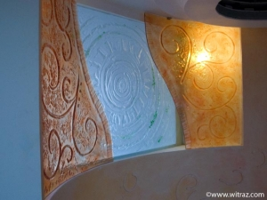 Bent art glass wall and skylight - staircase decoration