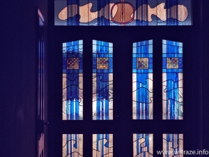 Stained glass swimming pool doors