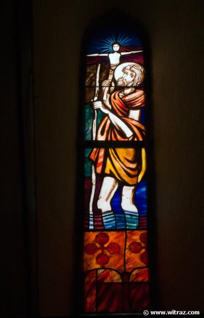 St. Christopher - Stained glass window in Enzesfeld