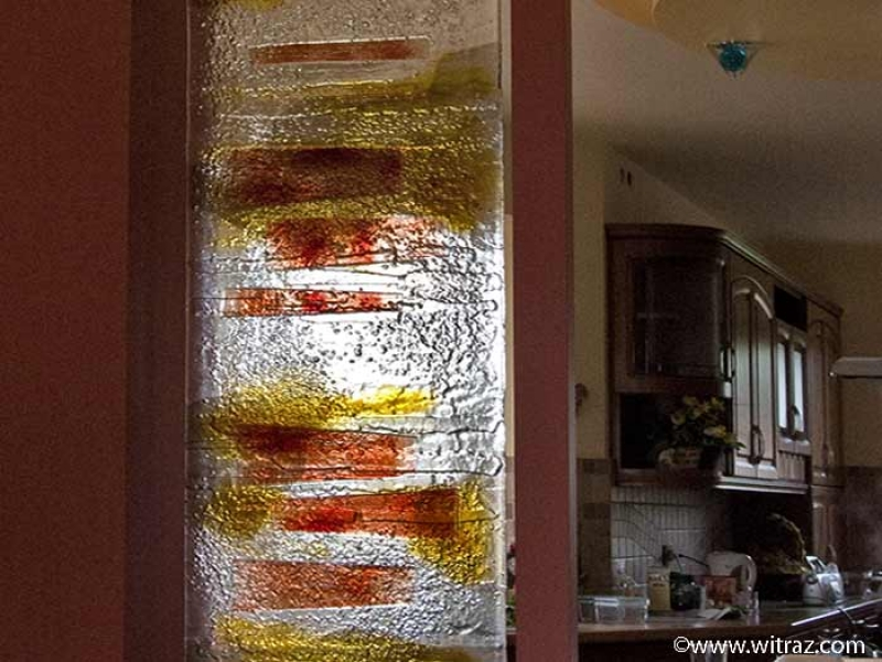 Art Glass Between The Dining Room And The Kitchen The