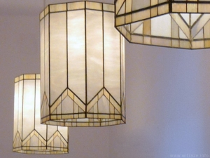 Art deco stained glass lampshades