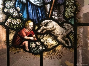 Stained glass with painted pastoral scenes
