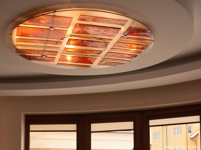 Fused glass ceiling in warm colors