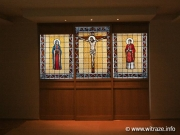 Stained glass windows in academic house chapel in Helsinki