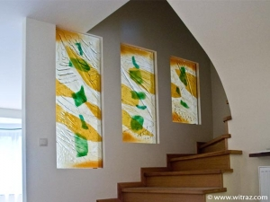 Art glass staircase casing