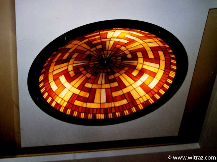 Large stained glass plafonds - lighting of the residence hall