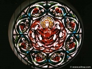 Stained glass rose of a church in Starachowice