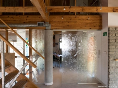 Art glass sliding doors with texture