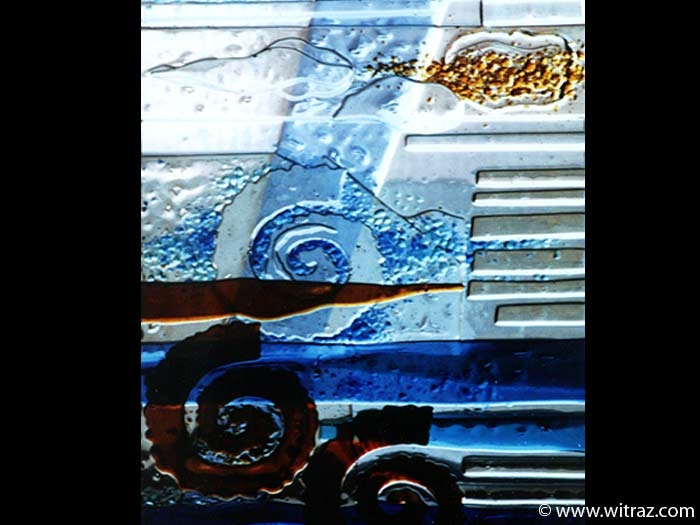 Marine motif art glass window