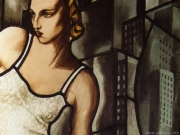 The stained glass decoration in a resteurant - the Tamara de Lempicki picture's interpretation