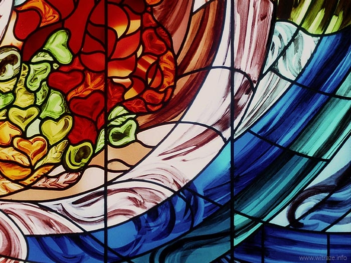 Stained glass windows with the floral motifs in a Tokyo school