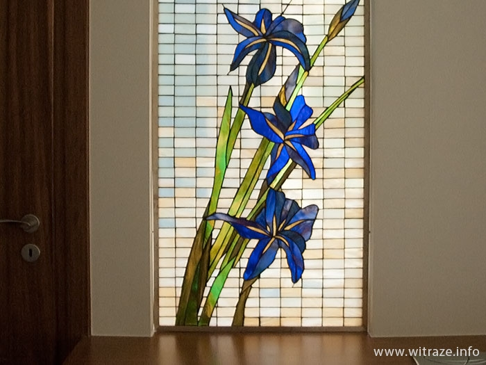Iris flower stained glass window