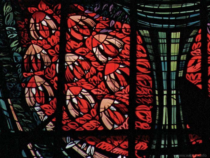 Stained glass windows in Gods's Mother Queen of Poland Church in Anin