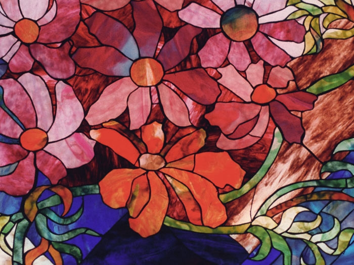 Floral motif stained glass