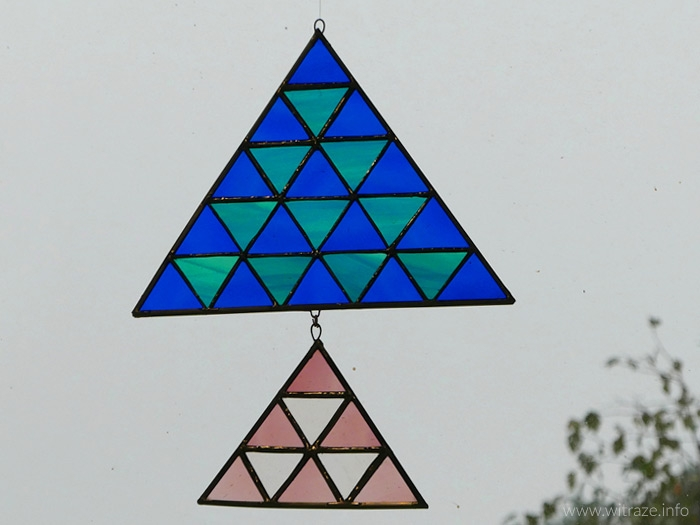 Geometric stained glass suncatchers